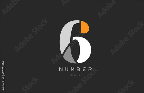 Photographie number 6 six for company logo icon design in grey orange and white colors
