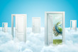3d rendering of white clouds with open doorways and Earth globe covered with city skyscrapers on blue background