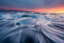 Glacial Ice On The Lava Beach ...