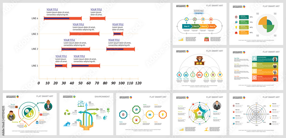 Fototapeta Colorful analysis and ecology concept infographics set