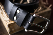 Handmade Black Wide Leather Be...