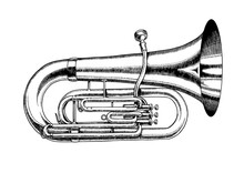 Jazz Tuba In Monochrome Engrav...