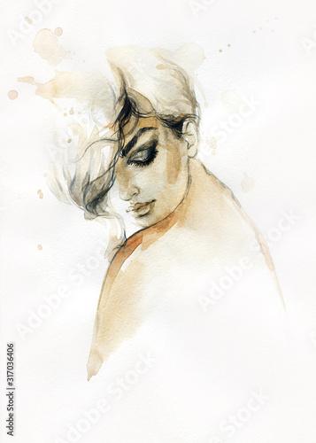 śliczna kobieta. ilustracja mody. Malarstwo akwarelowe