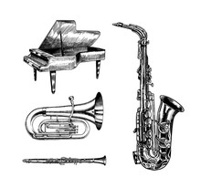 Jazz Classical Wind Instruments. Musical Saxophone Tuba And Grand Piano. Hand Drawn Monochrome Engraved Vintage Sketch.