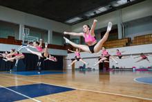 Group Of Cheerleaders Jumping ...