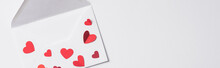 Top View Of Valentines Envelope With Red Hearts On White Background, Panoramic Shot