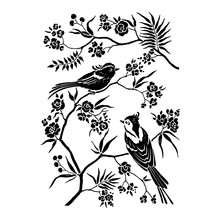 Decor In Oriental Style With Blooming Branches Trees And Birds. Wildlife Silhouette, Black Ornament Isolated On White Background. Vector Hand Drawn Illustration.