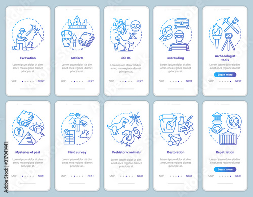 Archeology onboarding mobile app page screen vector template set Canvas Print
