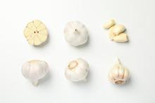Flat Lay With Garlic Bulbs On ...