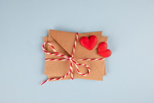 Minimal Valentine Day Concept. Valentine's Day Love Letter Postcrossing. Top View Flat Lay . Valentines Day, Mothers Day, Womens Day Greeting Card.