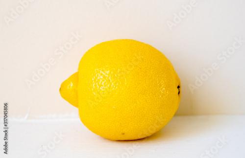 Creative layout made of lemon. Flat lay. Food concept. Lemon on white background.