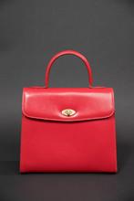 Vintage Red Women's Handbag Isolated On Black Background - Image