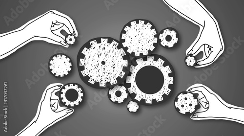 Fototapeta Paper hands connecting gears to each other over grey background obraz