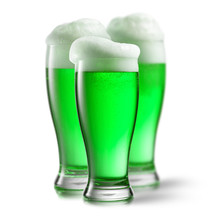 Alcoholic Green Beer In The Gl...