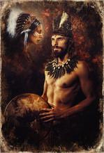 Beautiful Shamanic Man And Woman With Headband.