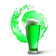 Glass Of Fresh Green Beer With...