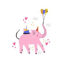 Pink Elephant With Cake Flat V...