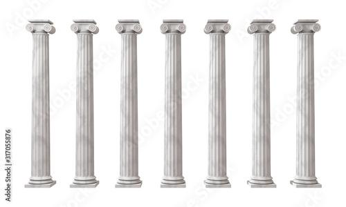 Fotografia Greek columns isolated on white 3D render