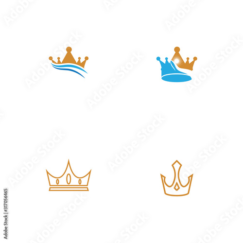 Photo Set Crown Logo Template vector icon