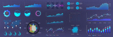 Blue Dashboard Infographic Template. Visualization Big Data. UI Elements Set. Online Statistics And Data Analytics. Information Panel Mockup And Future Design. Vector Infographics Set