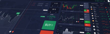 Illustration Stock Market Or Forex Trading Platform With Dashboard Interface. Perspective View, Website Header Banner. Economic Trends And Stock Exchange. Binary Option. Vector Illustration