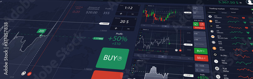 Obraz Illustration stock market or forex trading platform with dashboard interface. Perspective view, website header banner. Economic trends and stock exchange. Binary option. Vector illustration - fototapety do salonu