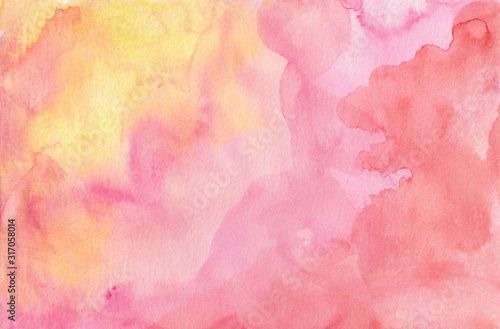 Obraz Pink purple red and yellow watercolor paint splash or blotch background with fringe bleed wash and bloom design, blobs of paint and old vintage watercolor paper texture grain - fototapety do salonu