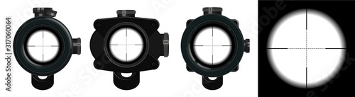 Fototapeta 3D models optical sight. Sniper score in realistic style for pc and mobile games. GUI zoom. Isolated collection. Military weapon concept. Vector illustration rifle optical sight obraz