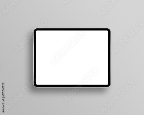 Tablet mockup on minimal background. Modern tablet display mockup scene. Tablet with empty screen. Top view. Photo mockup with clipping path. Fotobehang