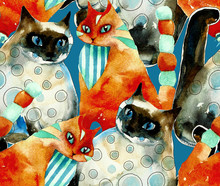 Seamless Red And Blue Cats Pattern From Original Watercolor Hand Drawn Illustration On Blue Background