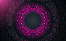 Dark Blue Abstract Background With Paper Shapes Overlap Layers. Luxury And Modern Concept Texture With Pink Mandala Element Decoration. Vector Design Template For Use Frame, Cover, Banner, Card