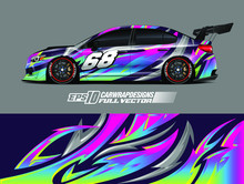 Rally Car Wrap Decal Design. Abstract Stripe Racing Background Designs For Wrap Cargo Van, Race Car, Pickup Truck, Adventure Vehicle. Eps 10