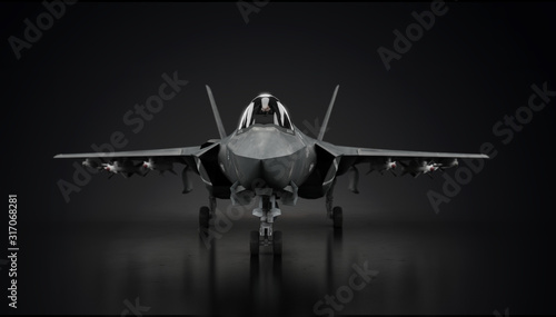 Photographie Aircraft fighter jet in undisclosed location in hangar facing front 3d render