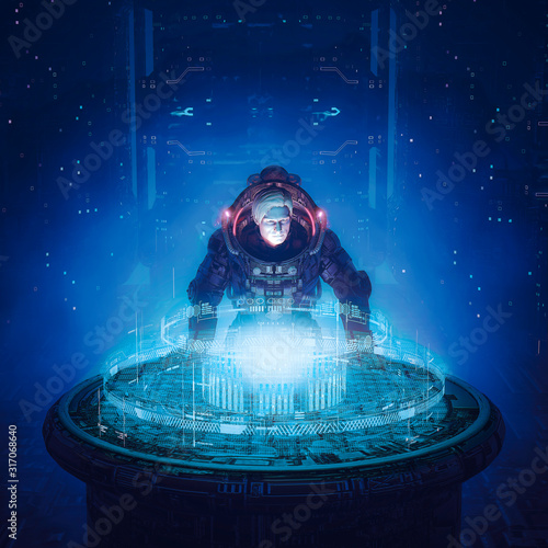Deep space strategy session / 3D illustration of science fiction scene with armoured astronaut examining holographic starship bridge data display