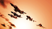 Early Morning Flying Jets In Flypast Formation 3d Render