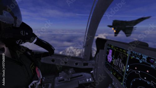 Fotografie, Obraz Jet fighter pilot viewing  enemy aircraft on left wing in cockpit view 3d render