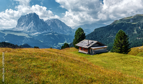Wall mural - Wonderful landscape in Val Gardena on a sunny day. Scenic image of famous Sassolungo peak. Amazing nature background in dolomites Alps.  Dolomiti, Trentino Alto Adige, Bolzano, Italy, Europe.