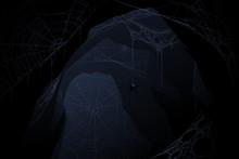 Dark Cave With Spider Web
