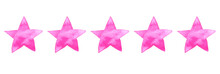 Watercolor Pink Ink Illustration Of Five Stars For Ranking Hotel, Restaurant Or Product In Review