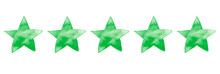 Watercolor Green Ink Illustration Of Five Stars For Ranking Hotel, Restaurant Or Product In Review