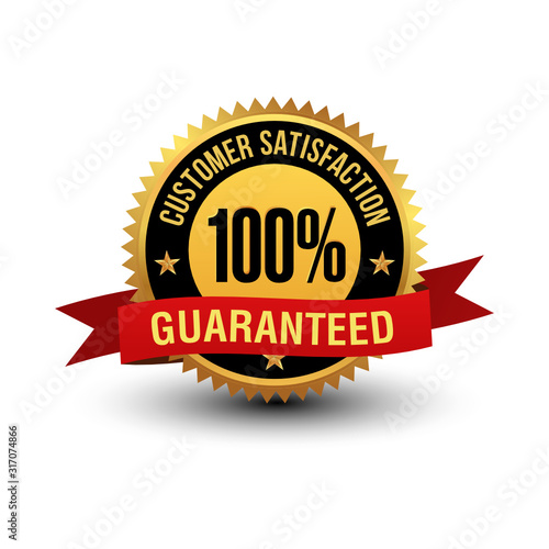 Foto Powerful and majestic 100% customer satisfaction guaranteed label, with red ribbon on top