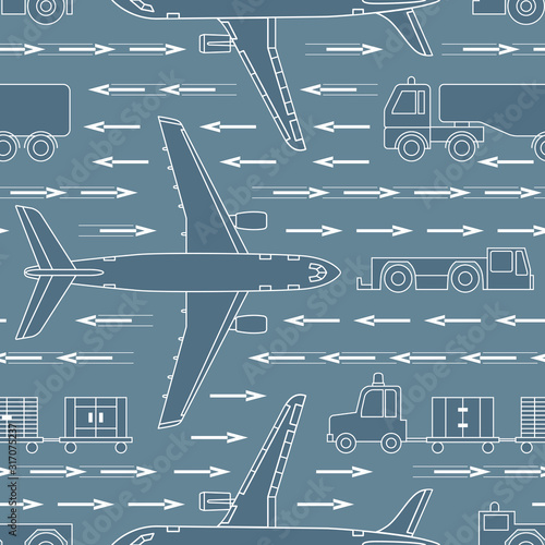 seamless-pattern-with-airplanes-and-airport-vehicles-on-gray-background