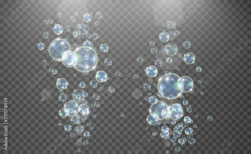Valokuva White beautiful bubbles on a transparent background vector illustration