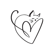 Heart And Cat Love Logo Sign. Design Flourish Element For Valentine Card. Vector Illustration. Romantic Symbol Wedding. Template For T Shirt, Banner, Poster