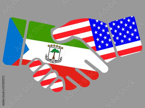 Fotografía Equatorial Guinea and USA flags Handshake vector