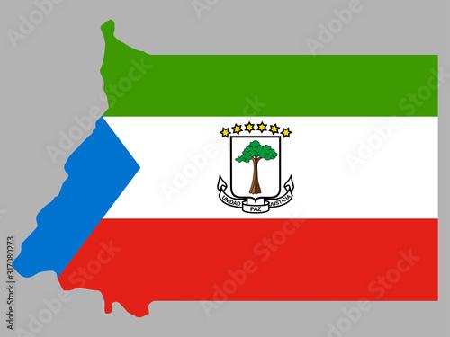 Cuadros en Lienzo Equatorial Guinea Map Flag Vector