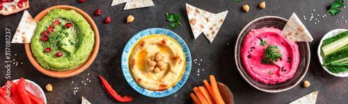 Colorful Hummus Set Obraz na płótnie