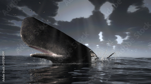 Fototapeta Cachalot sperm whale is over the sea surface under dramatic overcast weather 3d rendering obraz