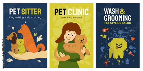 Fotografía Set of posters for vet clinic, dog walking and pet sitting service, wash and grooming salon, veterinary hospital