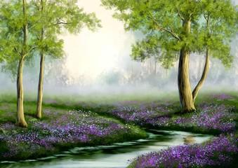 FototapetaPaintings spring landscape, flowers in the forest. Fine art